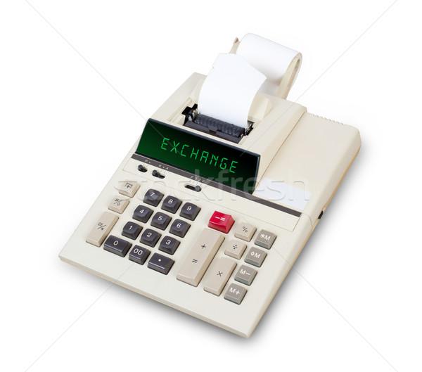 Oude calculator uitwisseling tonen tekst display Stockfoto © michaklootwijk