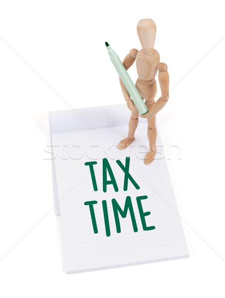 木製 マネキン 書く 税 時間 スクラップブック ストックフォト © michaklootwijk