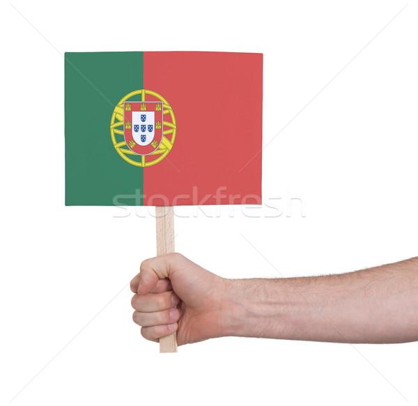 Mão pequeno cartão bandeira Portugal Foto stock © michaklootwijk