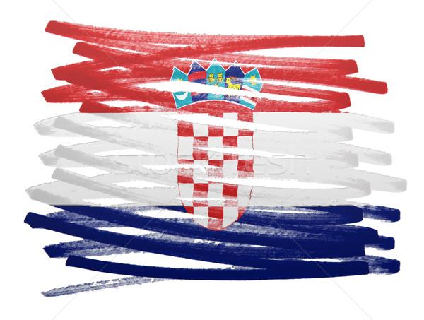 Bayrak örnek Hırvatistan kalem iş boya Stok fotoğraf © michaklootwijk