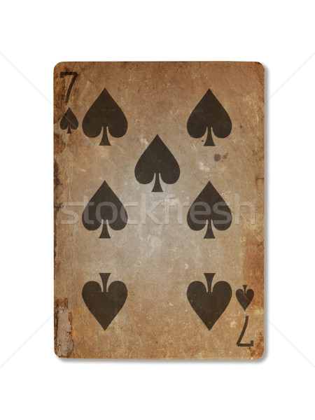 Very old playing card, seven of spades Stock photo © michaklootwijk