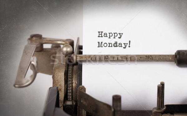 ヴィンテージ タイプライター クローズアップ 幸せ 紙 木材 ストックフォト © michaklootwijk