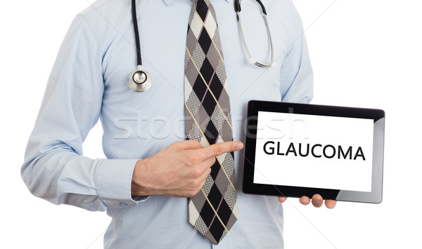 врач таблетка глаукома изолированный белый Сток-фото © michaklootwijk