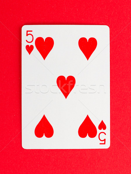 Stock photo: Old playing card (five)