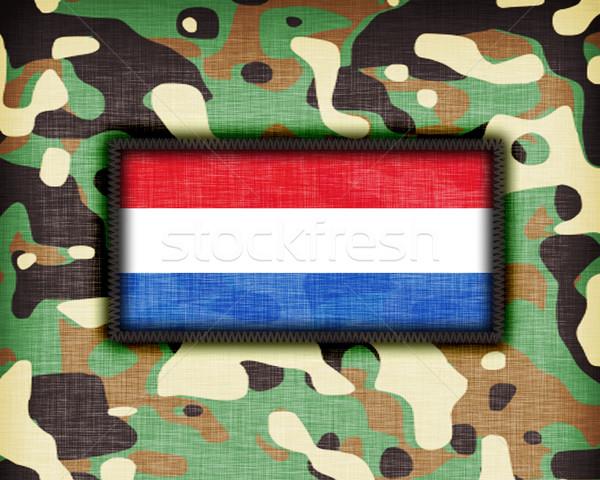 Kamuflaż uniform Niderlandy banderą streszczenie zielone Zdjęcia stock © michaklootwijk