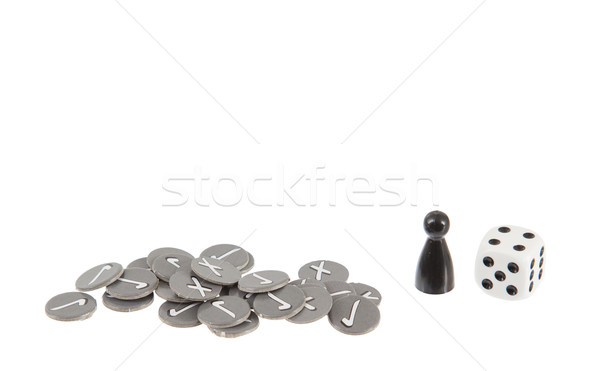 Pawn, dice and chips for a simple boardgame Stock photo © michaklootwijk