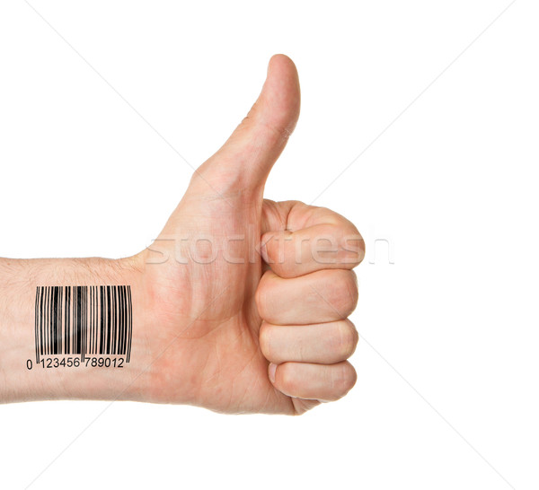 Thumb up with barcode Stock photo © michaklootwijk
