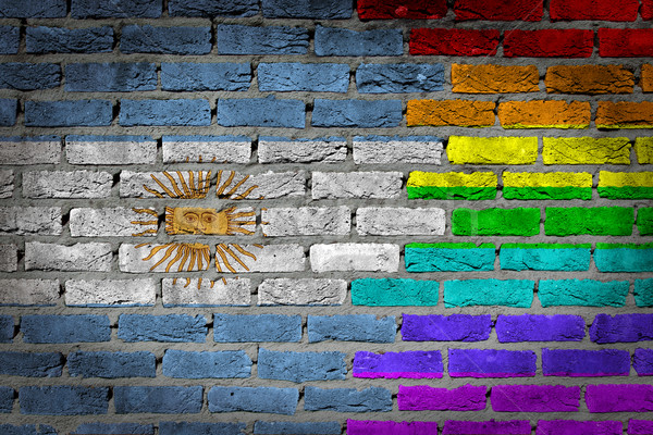 Stock fotó: Sötét · téglafal · jogok · Argentína · textúra · zászló