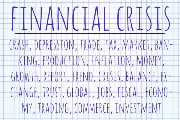 Crisi finanziaria word cloud scritto pezzo carta business Foto d'archivio © michaklootwijk