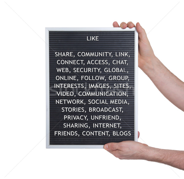 Stock photo: Like concept in plastic letters on very old menu board