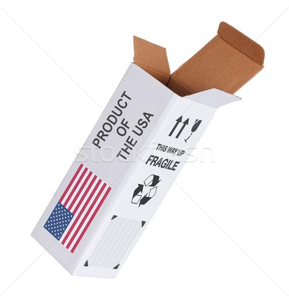 Exportar produto EUA papel caixa Foto stock © michaklootwijk