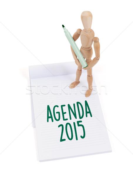 Legno mannequin iscritto agenda 2015 scrapbook Foto d'archivio © michaklootwijk