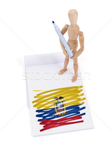 Ahşap manken çizim Ekvador bayrak kâğıt Stok fotoğraf © michaklootwijk