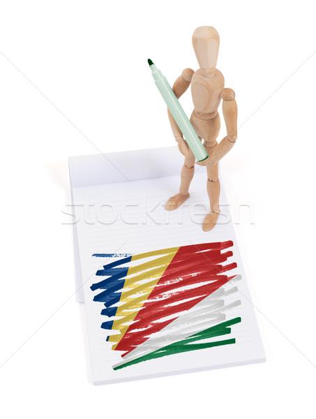 Ahşap manken çizim Seyşeller bayrak kâğıt Stok fotoğraf © michaklootwijk