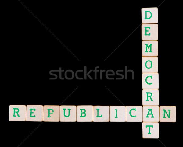 Demokrat cumhuriyetçi bulmaca siyah parti çapraz Stok fotoğraf © michaklootwijk