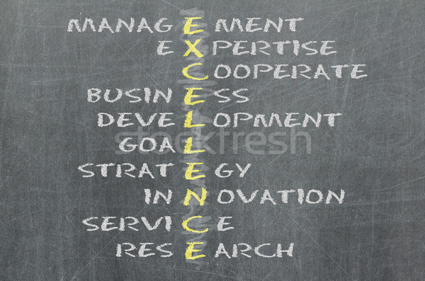 Conceptual EXCELLENCE acronym written on black chalkboard blackb Stock photo © michaklootwijk