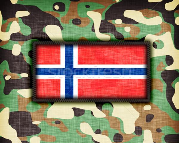 Kamuflaż uniform Norwegia banderą tekstury streszczenie Zdjęcia stock © michaklootwijk