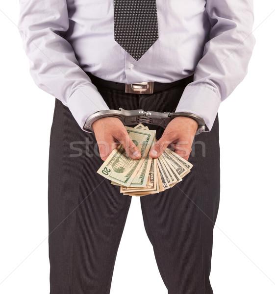 üzletember bilincs letartóztatva izolált fehér pénz Stock fotó © michaklootwijk