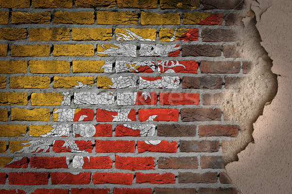 Dark brick wall with plaster - Bhutan Stock photo © michaklootwijk