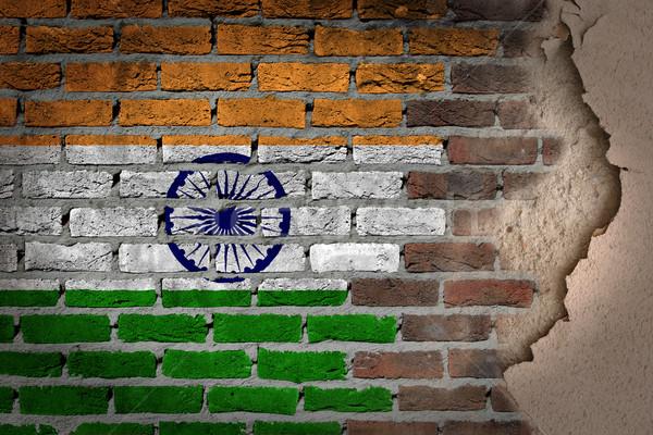 Sötét téglafal tapasz India textúra zászló Stock fotó © michaklootwijk