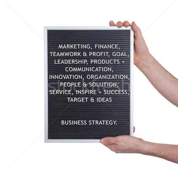 Stratégie d'entreprise plastique lettres vieux menu bord Photo stock © michaklootwijk