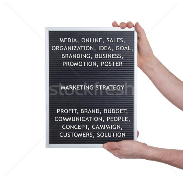 Estratégia de marketing plástico cartas velho menu conselho Foto stock © michaklootwijk