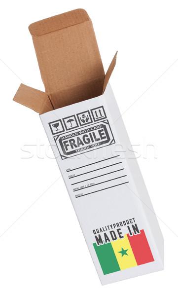 Exportar produto Senegal papel caixa Foto stock © michaklootwijk