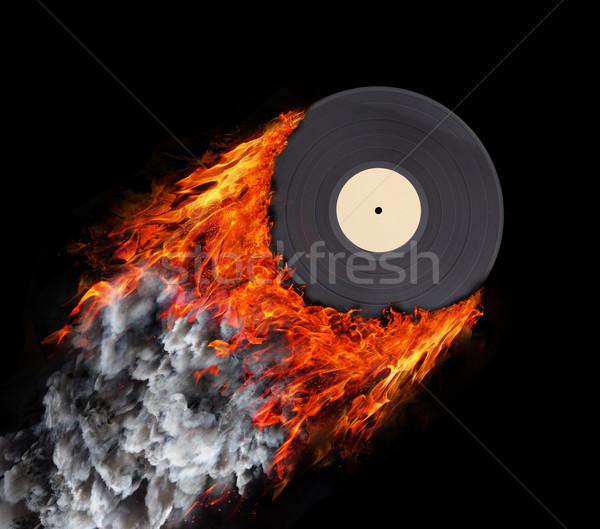 Stockfoto: Snelheid · parcours · brand · rook · vinyl · record