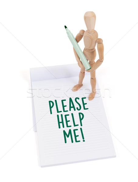 Wooden mannequin writing - Please help me Stock photo © michaklootwijk