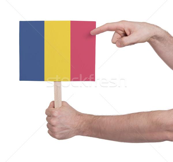 Mano piccolo carta bandiera Romania Foto d'archivio © michaklootwijk