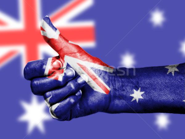 オーストラリア人 フラグ 手 孤立した 風 ストックフォト © michaklootwijk