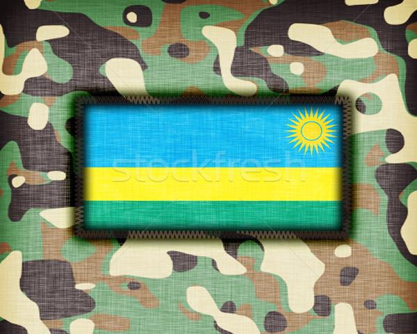 Kamuflaż uniform Rwanda banderą tekstury streszczenie Zdjęcia stock © michaklootwijk