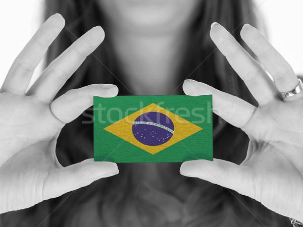 Stockfoto: Vrouw · tonen · visitekaartje · zwart · wit · Brazilië · ruimte