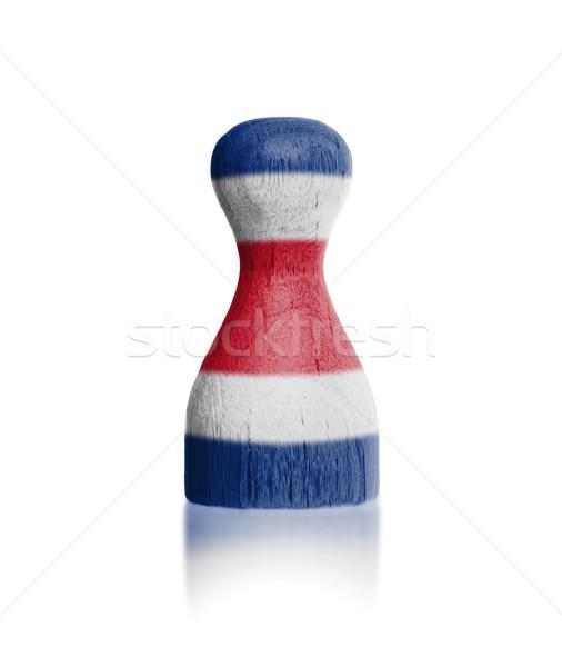 Houten pion schilderij vlag Costa Rica verf Stockfoto © michaklootwijk