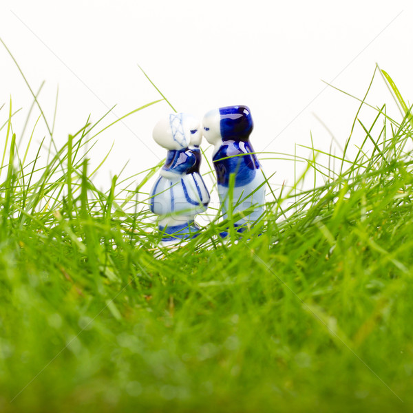 Typisch nederlands Blauw keramische geïsoleerd witte Stockfoto © michaklootwijk