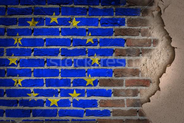 Ciemne murem gipsu eu tekstury banderą Zdjęcia stock © michaklootwijk