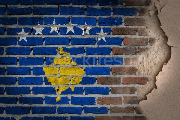 Sötét téglafal tapasz Koszovó textúra zászló Stock fotó © michaklootwijk