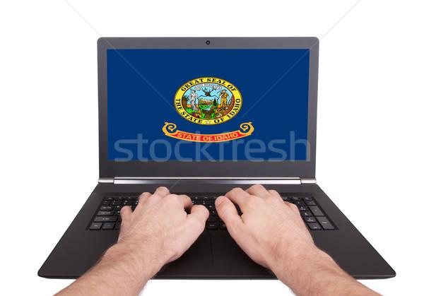 рук рабочих ноутбука Айдахо экране Сток-фото © michaklootwijk
