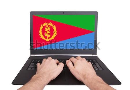 Kezek dolgozik laptop Grenada mutat képernyő Stock fotó © michaklootwijk