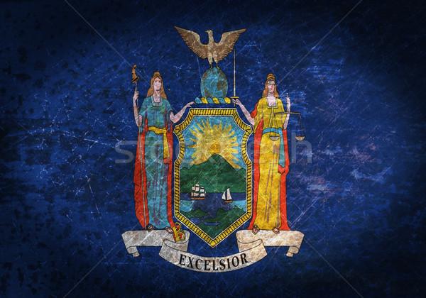Foto stock: Velho · enferrujado · metal · assinar · bandeira · Nova · Iorque