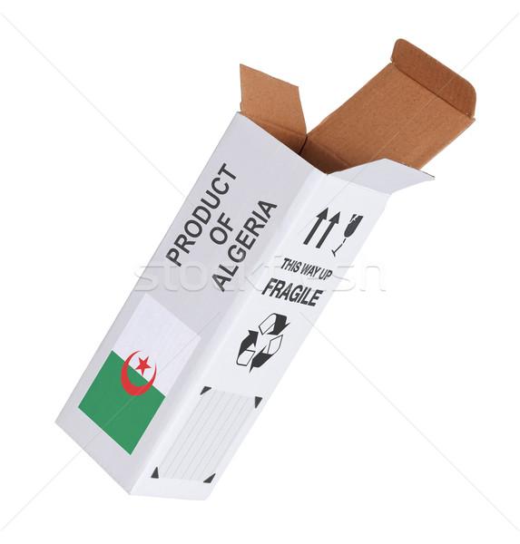 Exportar produto Argélia papel caixa Foto stock © michaklootwijk