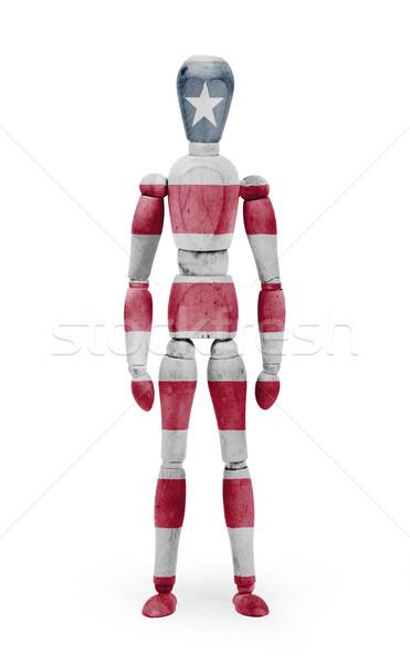 Wood figure mannequin with flag bodypaint - Liberia Stock photo © michaklootwijk