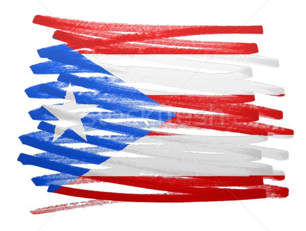 Stockfoto: Vlag · illustratie · Puerto · Rico · pen · business · verf