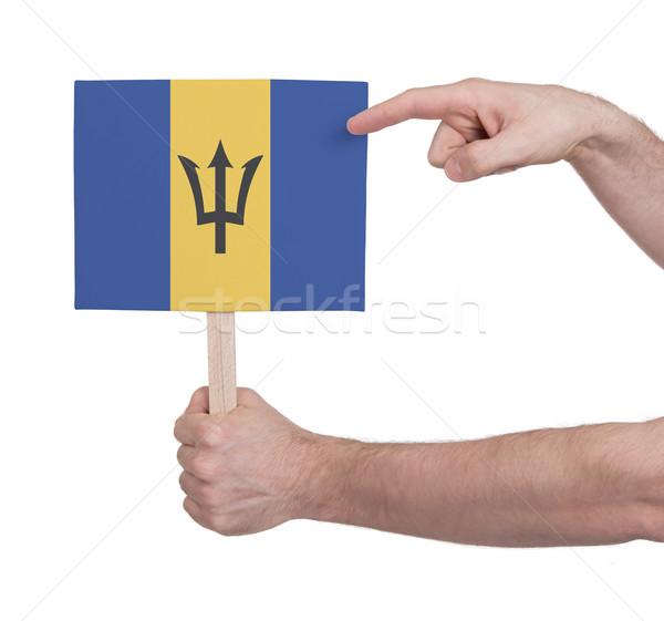 Mão pequeno cartão bandeira Barbados Foto stock © michaklootwijk