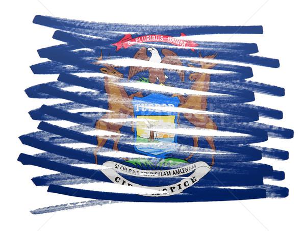 Bandera ilustración Michigan pluma negocios pintura Foto stock © michaklootwijk