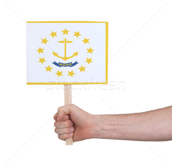 Mão pequeno cartão bandeira Rhode Island Foto stock © michaklootwijk