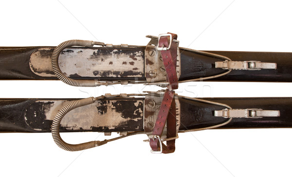 Pair of old wooden skis Stock photo © michaklootwijk