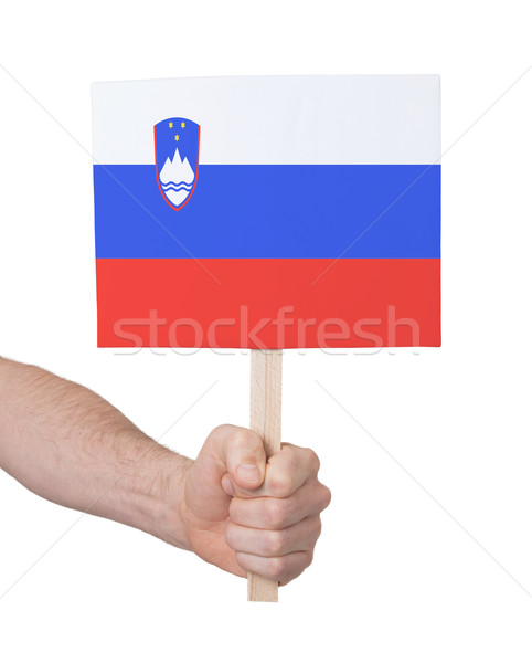 Hand holding small card - Flag of Slovenia Stock photo © michaklootwijk