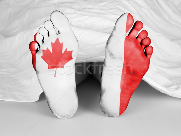 Branco folha bandeira Canadá mulher Foto stock © michaklootwijk