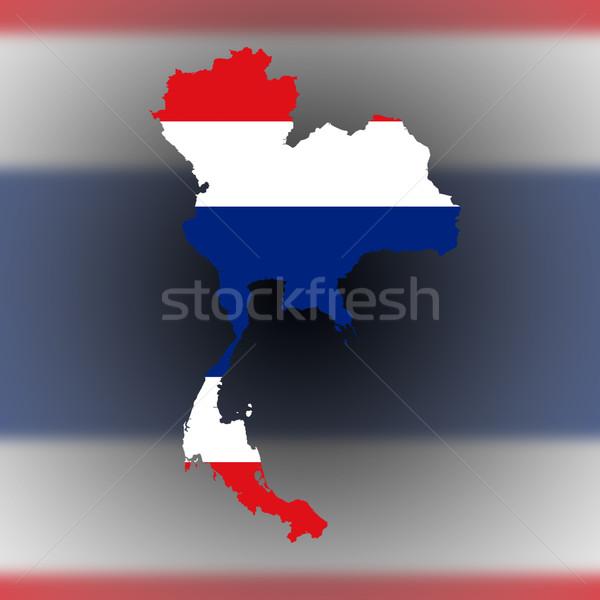 Harita Tayland bayrak yalıtılmış seyahat siluet Stok fotoğraf © michaklootwijk